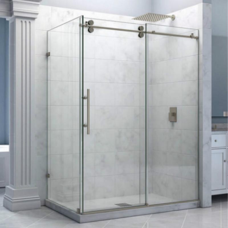 ft rectngulo cromo pulido bypass granero correderas de cristal sin marco puerta de la ducha