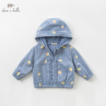 DBA9359 dave bella spring baby girl lovely jacket children fashion outerwear kids lemon coat image