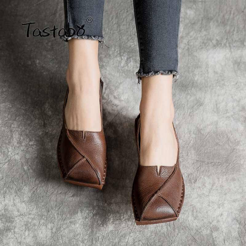 Tastabo Muffin bottom Woman Shoe Handmade Genuine Leather vintage Soft and comfortable Non slip shading