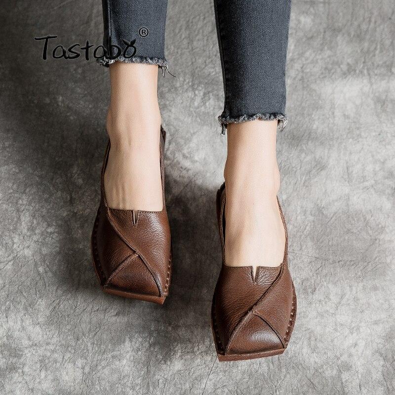 Tastabo Muffin bas Femme Chaussures À La Main Véritable Cuir vintage Doux et confortable Non-slip ombrage