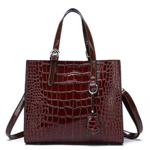 MR.L Big Bag Female Tide Crocodile Pattern Large Capacity Woman Wide Band Red Bag Wild Single Shoulder Slung Handbag Crossbody