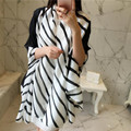 Fashion Black White Stripes Printed Silk Scarf Square Foulard Female Pashmina Echarpe Shawl Ponchos And Capes Feminino Inverno