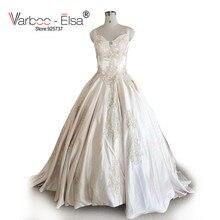 VARBOO_ELSA Champagne chérie de luxe Robe de bal Robe balayage Train charmante dentelle appliques Robe de mariée 2018 Robe Mariage