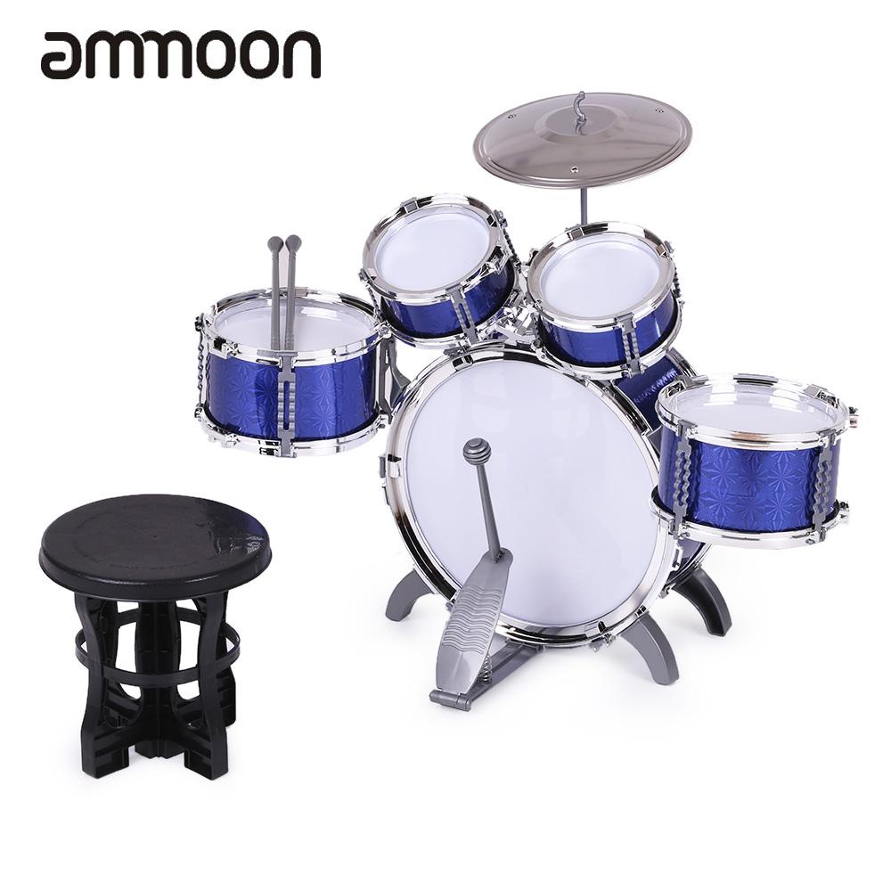 Prix pour Enfants Enfants Drum Set Instrument de musique Jouet 5 Tambours avec Petite Cymbale Tabouret Tambour Bâtons pour Garçons Filles