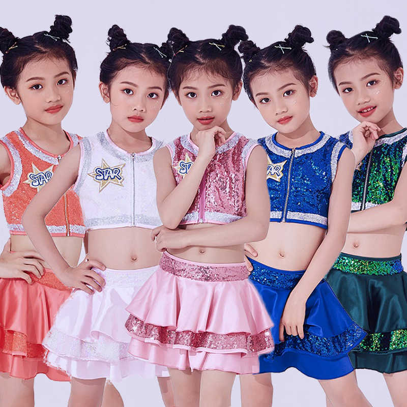 4be176d3db9c Hip Hop Dance Costumes Kids Sequined Sleeveless Top Skirts Stage Outfit  Girls Cheerleading Child Street Dancing