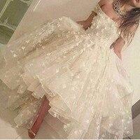 Настоящий белый Hi Lo халат De Soiree пикантные с открытыми плечами платье Vestido De Noiva вечернее платье abendkleid Кружева Вечерние Пром Подружкам невест