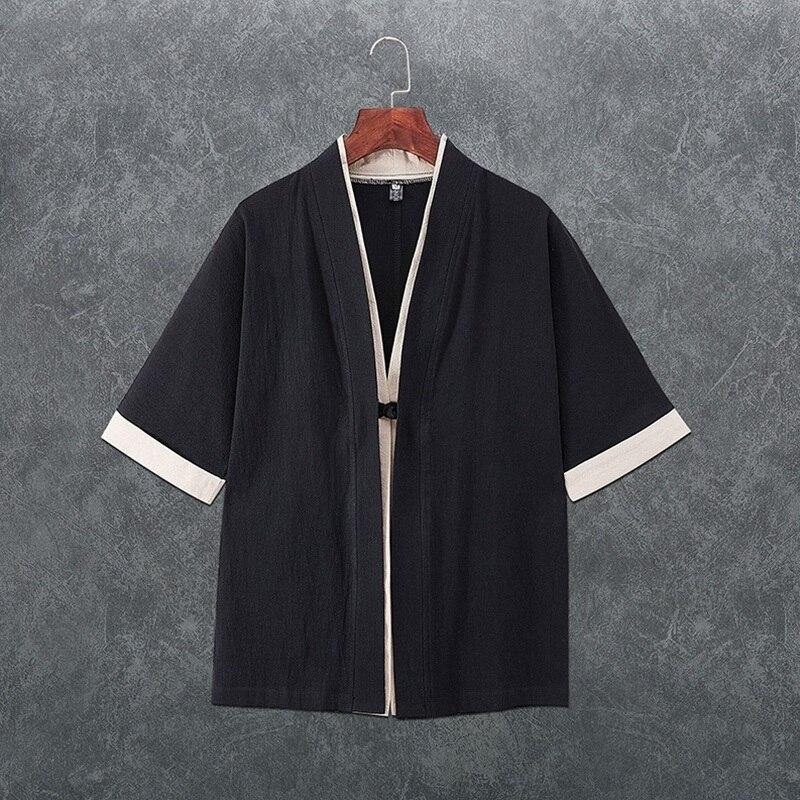 Japanese Kimono Cardigan Men 2019 Spring Asian Clothes Traditional Chinese Clothing For Men Haori Japanese Yukata Kimonos KZ2034