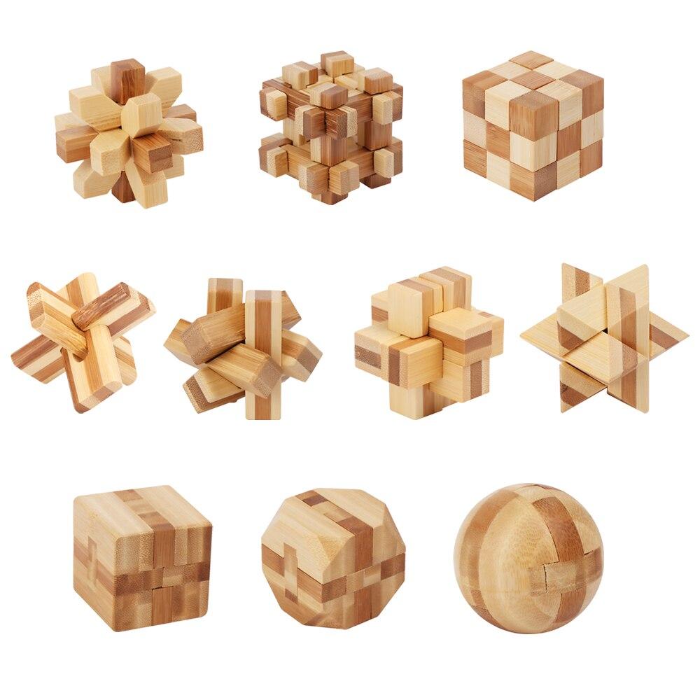 Wood Brain Teaser Puzzle Toy Kongming Lock for Kids Intelligence Development