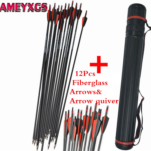 12pcs 30″ Spine 500 Fiberglass Arrows Glass Fiber With Arrow Quiver Replace Broadheads Bow Hunting ShootingArchery Accessories