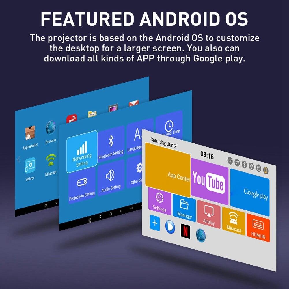 Projetor inteligente Teatro Kit Projetor Portátil Mini Projetor IR Wifi 4K  HD Para Android Telefone Móvel
