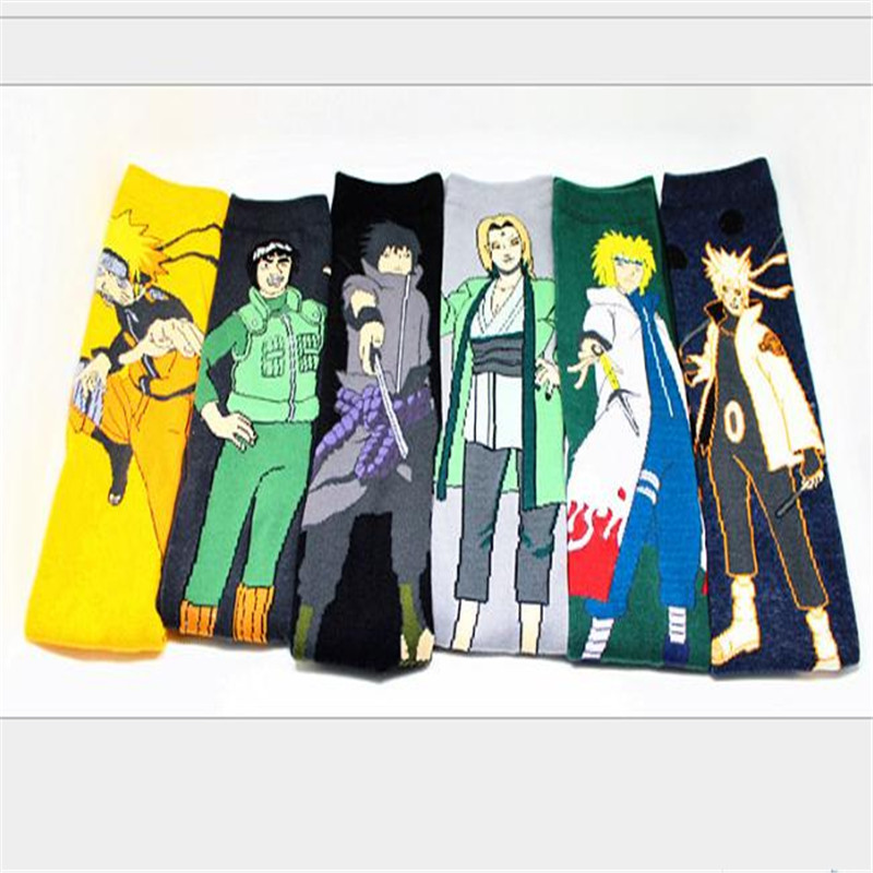 Anime Naruto Cartoon Socks Cosplay Fashion Sock Novelty Funny Casual Men Sock Spring Summer Socks 6 Pairs/Lot