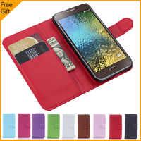 De lujo de cartera de cuero de la PU del tirón de la cubierta del teléfono para Samsung Galaxy E5 E500 SM-E500FDS teléfono celular cubierta con titular de la tarjeta soporte