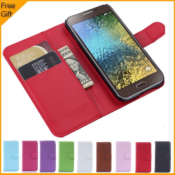 Luxury Wallet PU Leather Flip Cover Phone Case For Samsung Galaxy E5 E500 SM-E500FDS Cell Phone Cover With Card Holder Stand
