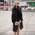 JEPLUDA 2016 New Fashion Lamb Fur Long Coats Rex Rabbit Mandarin Collar Real Fur Women Winter Real Fur Coat Winter Jacket 68H08