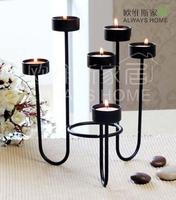 031805 Contracted And Contemporary European Six Head Wrought Iron Candle Holder