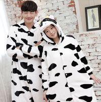 Adult Unisex Pajamas Set Pijamas Feminino Cow Full Sleeve Hooded Polyester Pajama Sets Homewear Cute Animal