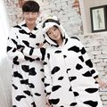 Adult Unisex Pajamas Set Pijamas Feminino Cow Full Sleeve Hooded Polyester Pajama Sets Homewear Cute Animal Pajamas