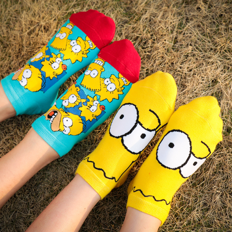 Dreamlikelin 1 Pair Funny Women Children   Socks   Cute Happy Cotton   Socks   Simpsons Family Novelty Spring Autumn Short Ankle Sokken