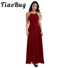 Newest Women Ladies Spaghetti Strap Criss Cross Backless Chiffon Elegant Bridesmaid Dresses Formal Occasion Party Prom Gowns