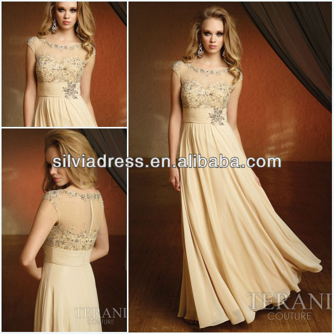 A line chiffon cap sleeve beaded floor length vintage for Beaded vintage style wedding dresses
