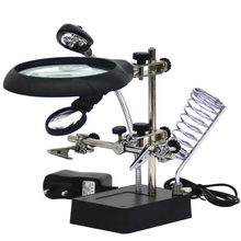 Welding Magnifying Glass 5 LED Auxiliary Clip Magnifier 3 In1 Hand Soldering Solder Iron Stand 10x Holder Station Magnifier 10x ac dc interchangeable magnifier standard desktop magnifier with 5led lights alligator auxiliary clip stand