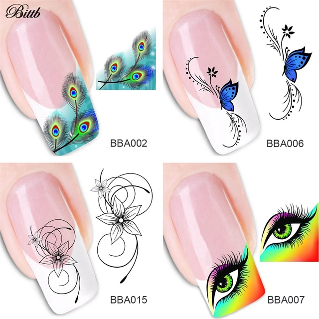 Bittb 8pcs Nail Art Stickers Water Transfer Nail Decals Peacock