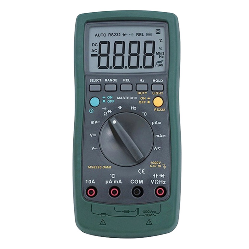 Mastech MS8226 DMM 3 3/4 Digital Multimeter Auto Range Capacitance Resistance Temperature Tester Meters with Backlight