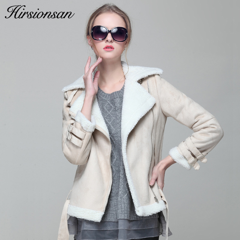 Hirsionsan Winter Jacket Women Thicken Lambswool Outwear Short Coat 2017 Warm Locomotive Suede Leather Parka New Belt Overcoat new winter women lady thicken warm coat hood parka long jacket overcoat outwear