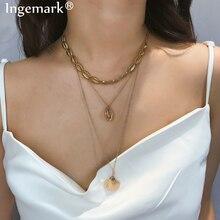Ingemark Three Layers Shell Pendant Choker Necklace Bohemian Ocean Cowrie Full Tassel Seashell Long Chain Necklaces Jewelry 2019