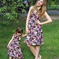 2016 verano vestidos a juego familia madre e hija ropa baby girl clothing mujeres niños estampado de flores vestido de la manera