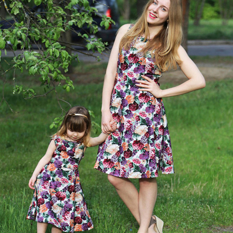 2017 summer mother and daughter dresses matching family