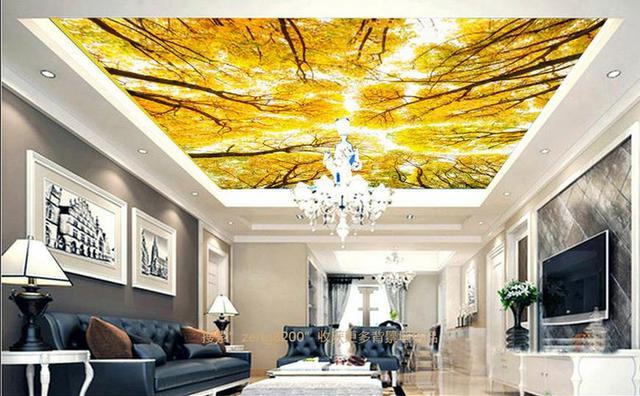 benutzerdefinierte 3d decke tapete herbst in den wald 3d. Black Bedroom Furniture Sets. Home Design Ideas