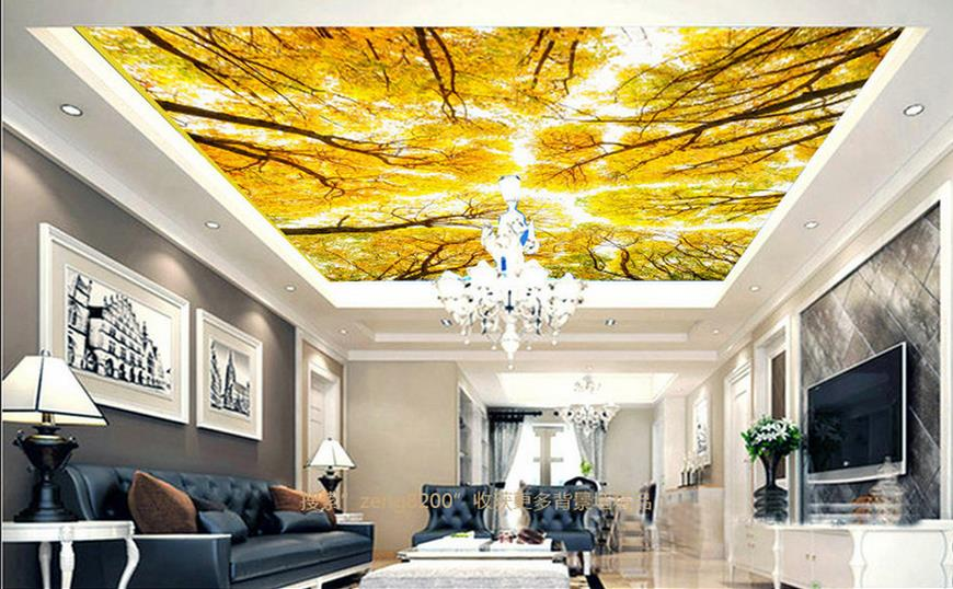 custom 3d ceiling wallpaper Autumn in the woods 3d ceiling luxury wallpapers for living room 3d ceiling murals for bedroom sky ceiling wallpaper photo wallpaper for kids living room bedroom nonwoven wallpaper 3d ceiling murals wallpaper