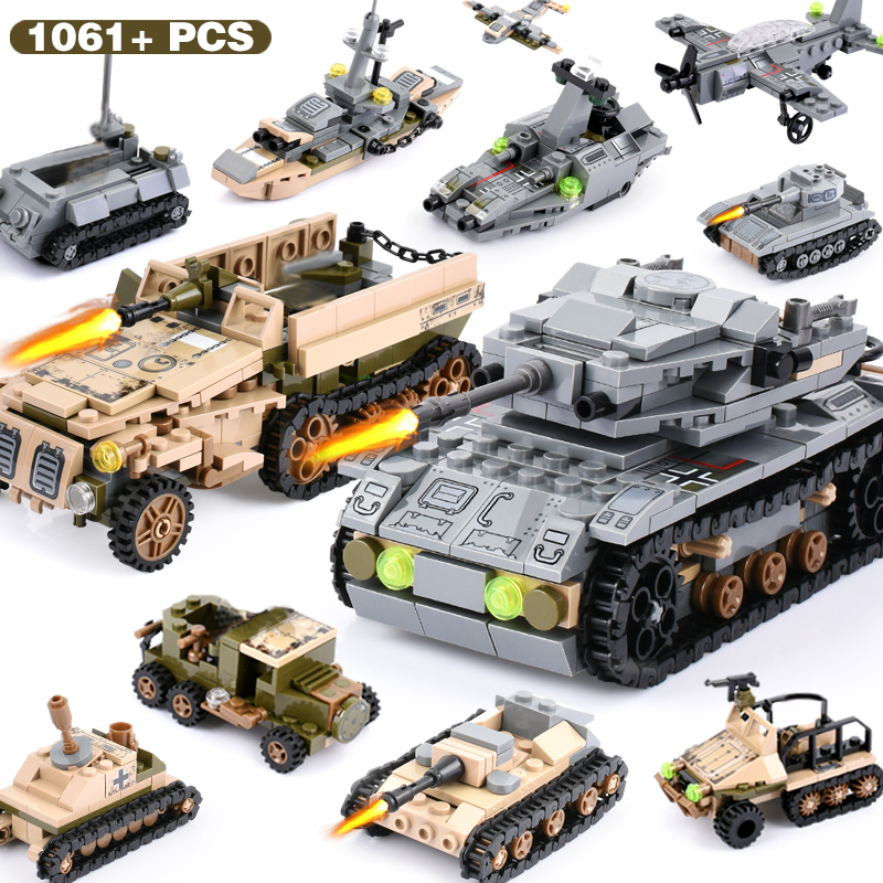 Image 3 - 1061+PCS Building Block Compatible LegoINGlys City Blocks Army Truck Building Blocks Military Vehicle Playmobil Toy For Children-in Blocks from Toys & Hobbies