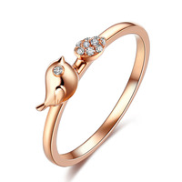 Danki Brand New Silver Ring Band Women Fashion Jewelry Rose Gold Plated Accessory Cute Bird Ring