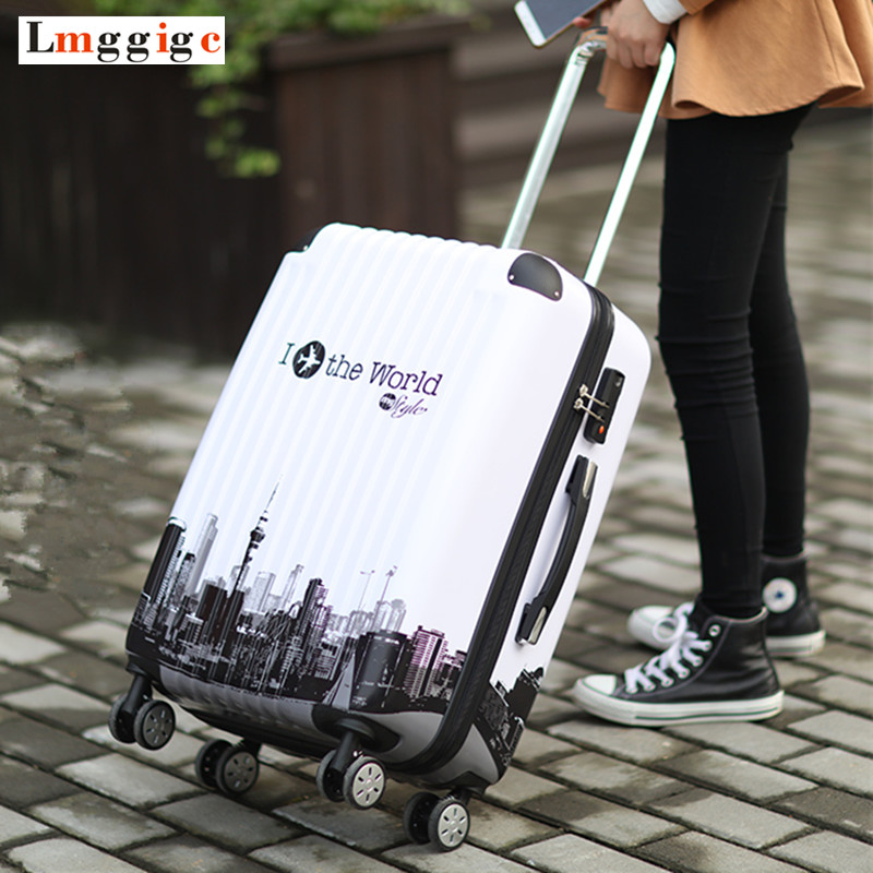 Travel Suitcase Bag,Rolling Carry on Luggage,Men Nniversal wheel Trolley Case, Women Spinner wheels ABS Box 20 24in rolling luggage suitcase on wheels abs girl trolley case travel waterproof luggage case extension boarding box