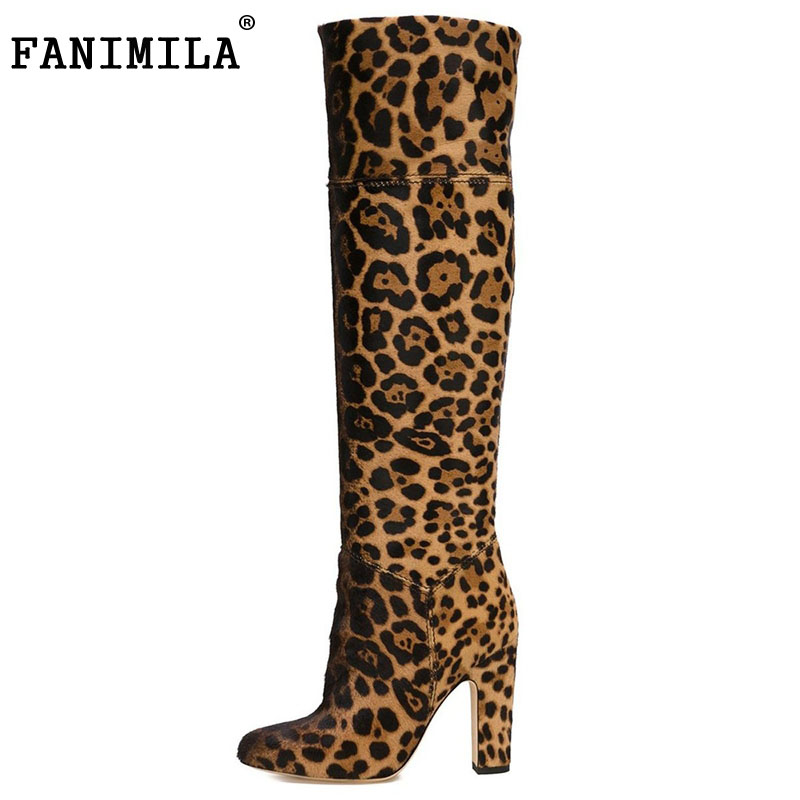 New Fashion Women Knee-high Boots Female Sexy Pointed Toe Square High Heels Leopard Boots Shoes Woman Size 35-46 B133 customizable fashion women knee high boots sexy pointed toe thin heels leopard boots shoes woman plus size 4 15