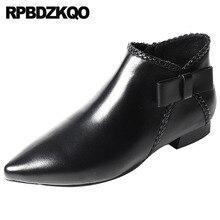 Меховые ботинки с бантом, зимняя черная обувь, ботинки с боковой молнией, с острым носком, на заказ, высокое качество, осенняя женская обувь из натуральной кожи, на плоской подошве