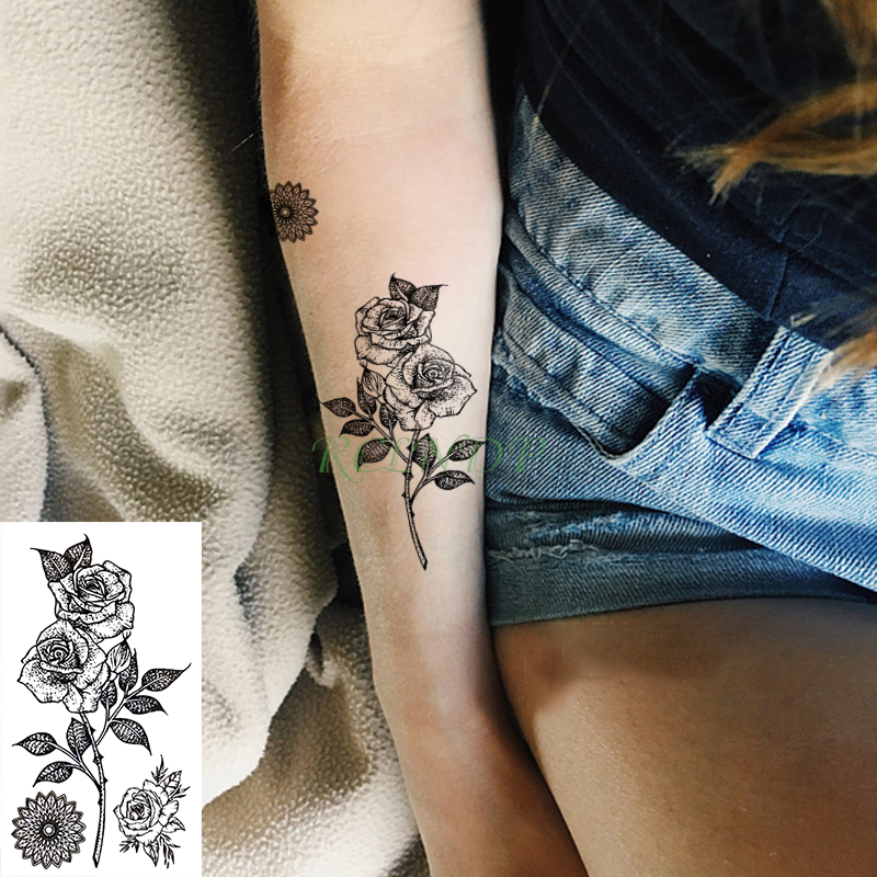 Waterproof Temporary Tattoo Sticker Rose Flower Small Fake Tatto Stickers Flash Tatoo Hand Foot Tattoos For Girl Men Women Kids