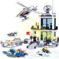 536 unids/set KAZI 6726 Estación de Policía Helicóptero Lancha DIY Del Bloque Hueco juguetes educativos para niños regalos de navidad