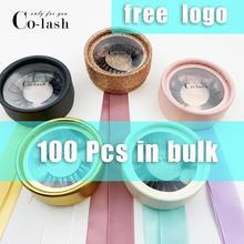 Colash New arrivals 3D mink lashes paper round box custom handmade mink fur eyelashes packaging own logo