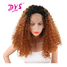 Deyngs Short Ombre Kinky Curly Lace Front Wigs For Black Women  Black to Brown Color Naturally Synthetic Lace Wig Heat Resistant