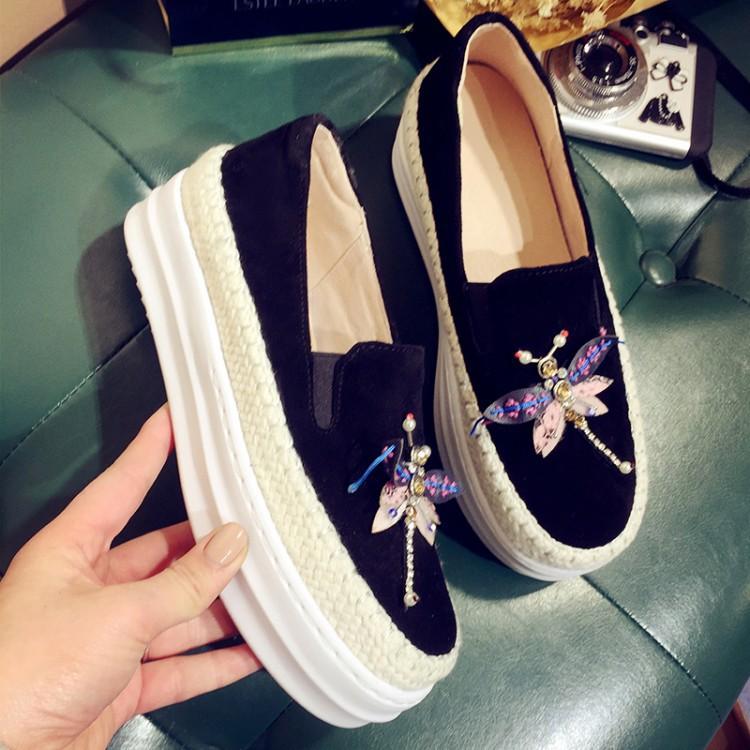 Big Size Women Platform Loafers Crystal Genuine Leather High Quality Pointed Toe Flats Shoes For Women Slipony Women Rhinestone  (30)