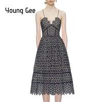 Young Gee Summer Black Lace Runway Dress Women Sexy Spaghetti Straps Deep V neck Sweetheart Crochet Midi Dresses Party Vestidos