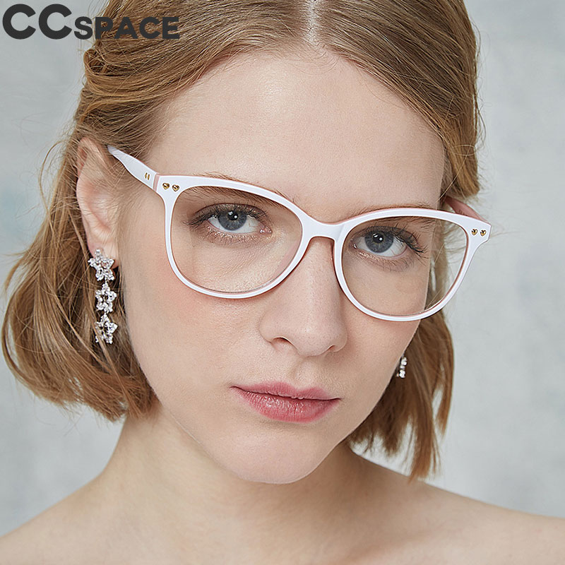 45563 Rivet Round Cat Eye Glasses Frames Square Men Women CCSPACE Brand Designer Optical Fashion Eyewear Computer Glasses