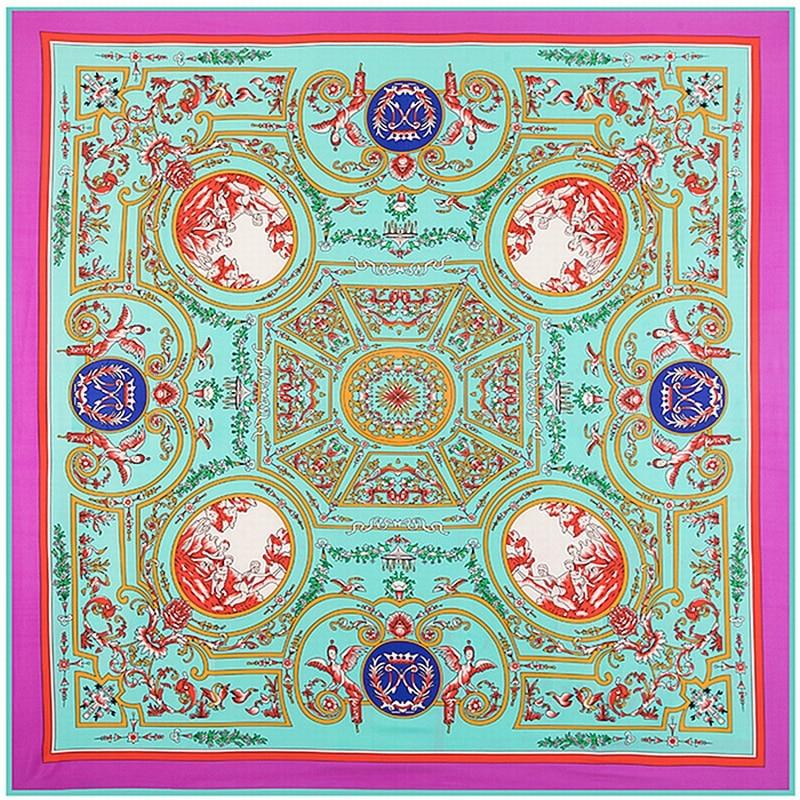 POBING Luxury Brand Woman Square   Scarves     Wraps   Vintage Geometric NecKerchief Original Design Ethnic Vase Silk Foulard Head   Scarf