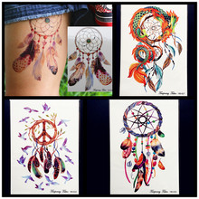 Fashion Dream Catcher Waterproof Temporary Tattoo Women Large Body ART ARM Tattoo Stickers 21x15CM Flash Fake Tatoo Dreamcatcher