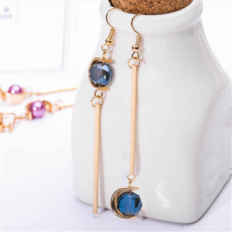 Fashion modern contracted asymmetric eardrop earrings for women Blue metal long high quality glass pendant earrings wholesale