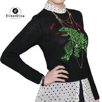 2018 Для женщин Свитера, пуловеры женские Повседневное Джемперы осень зима с длинным рукавом Дамы Вышивка Короткие кашемировые свитера