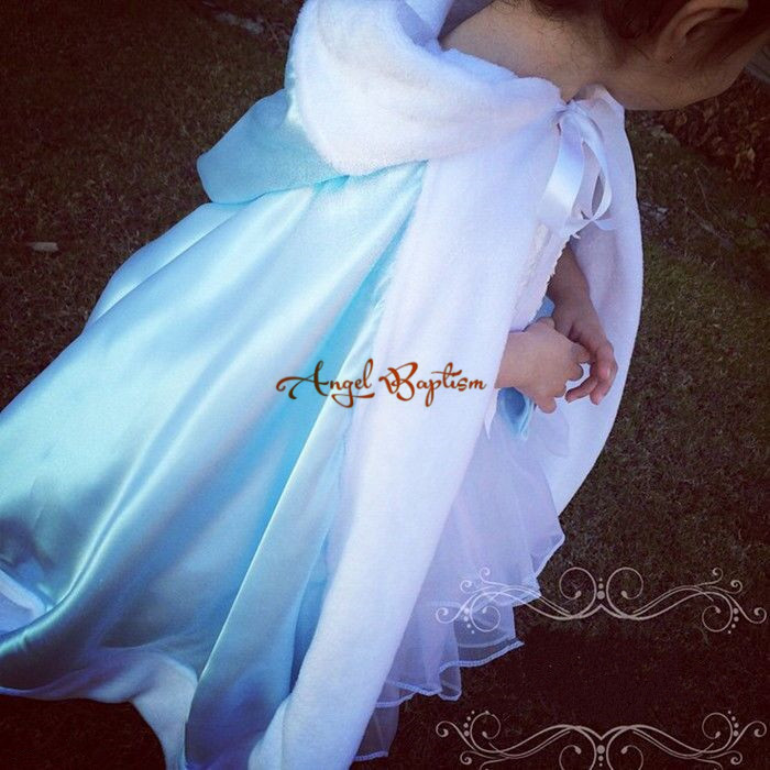 Sweet Long satin sky blue flower girl faux fur cape fall winter jacket wrap bolero wedding party coat outwear evening cloaks sweet vintage style purple winter cape for women mandarin collar wool cape